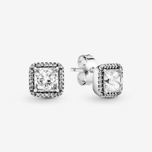 PANDORA Clear Square Sparkle Halo Stud Earrings